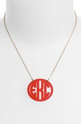 Women's Moon And Lola Medium Oval Personalized Monogram Pendant Necklace Ruby Gold Nordstrom Exclusive