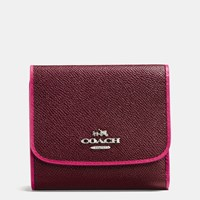 Coach Small Wallet In Edgestain Leather Silver Burgundy Cerise