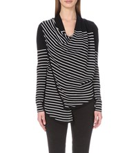 Allsaints Drina Striped Knitted Cardigan Ink Chalk