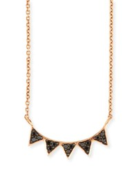 Sydney Evan 14K Rose Gold Black Diamond Triangle Necklace