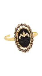 Alexis Bittar Cameo Crown Cuff Bracelet Gold Black