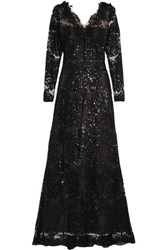 Marchesa Notte Sequin Embellished Embroidered Tulle Gown Black