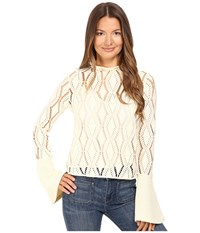 See By Chloe Jersey Lacey Blouse With Bell Sleeve Winter White