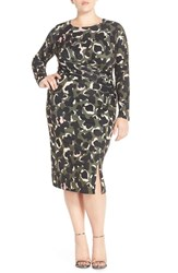 Plus Size Women's Eloquii Drape Front Abstract Camo Sheath Dress
