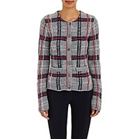 Thom Browne Women's Plaid Wool Blend Cardigan Light Grey