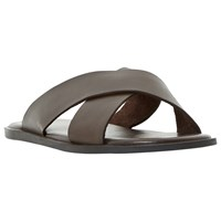 Dune Lago Cross Strap Leather Sandals Brown