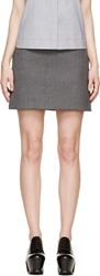 Viktor And Rolf Dark Heather Grey Bonded Flannel Mini Skirt