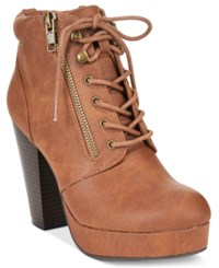 Material Girl Rheta Lace Up Platform Booties Only At Macy's Women's Shoes Cognac