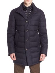 Moncler Quilted Wool Jacket Dark Blue