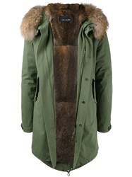 Yves Salomon Fur Trim Parka Green