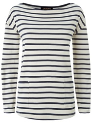 Jaeger Winter Breton Top Ivory Navy