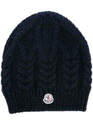 Moncler Cable Knit Beanie Blue