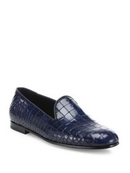 Giorgio Armani Croc Printed Leather Loafers Dark Blue