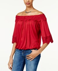 American Rag Crochet Trim Off The Shoulder Top Only At Macy's Rio Red