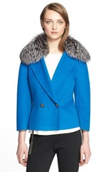 Women's St. John Collection Double Breasted Jacket With Genuine Fox Fur Collar Tahoe Blue