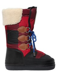 Dsquared Plaid Nylon And Leather Snow Boots