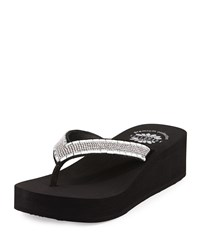 Yellow Box Hadassa Crystal Wedge Thong Sandal Black Clear