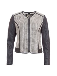 Garcia Zip Up Jacket With Faux Leather Sleeves Multi Coloured