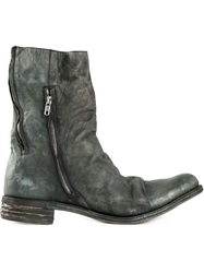 A Diciannoveventitre Distressed Zip Detail Boots Black