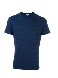 Carven Ginkgo Flower Print T Shirt Blue