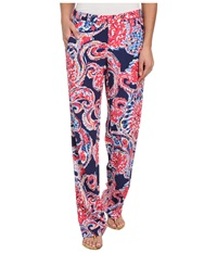 Lilly Pulitzer Cambridge Palazzo Pant Bright Navy For The Halibut Women's Casual Pants Pink