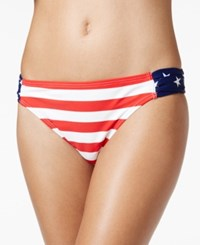 California Waves Ruched Stars And Stripes Hipster Bikini Bottom Women's Swimsuit Multi
