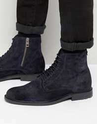 Hugo Boss Orange Cultroot Suede Lace Up Boots Navy Blue
