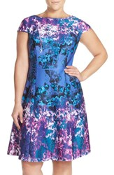 Plus Size Women's Adrianna Papell Print Fit And Flare Dress Blue Multi