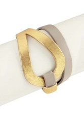 Saachi Looped Metal Leather Bracelet Pink