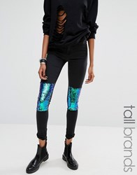 Noisy May Tall Skinny Jean With Sequin Knee Patch Black