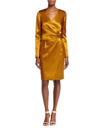 J. Mendel Silk Long Sleeve Deep V Wrap Dress Ochre