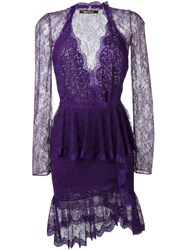 Roberto Cavalli Ruffle Trim Lace Cocktail Dress Pink And Purple