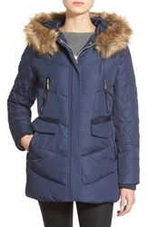 Kensie Faux Fur Trim Hooded Quilted Down And Feather Fill Coat Navy