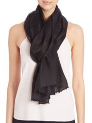 Bajra Striped Silk And Wool Scarf Black Beige