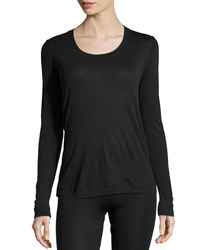 Hanro Cashmere Silk Blend Long Sleeve Top Black Size M