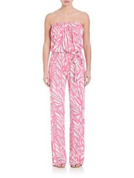 Lilly Pulitzer Tia Strapless Jumpsuit Capri Pink Papaya Playa