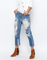 Replay Gracelly Boyfriend Jeans With Paisley Patches Blue