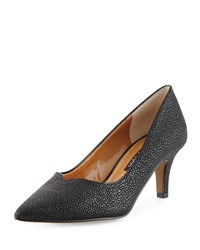 Kay Unger Kiarra Stingray Print Low Heel Pump Black