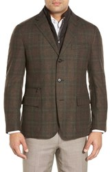 Men's Big And Tall Corneliani Classic Fit Plaid Wool And Cashmere Sport Coat With Removable Liner Olive Plaid
