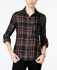 Polly And Esther Juniors' Plaid Roll Sleeve Shirt Green Olive