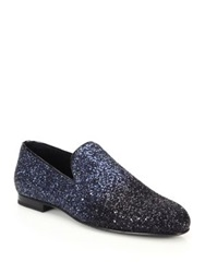 Jimmy Choo Gradient Glitter Slippers Metallic Grey
