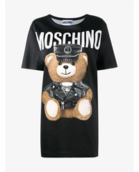 Moschino Dress With Leather Clad Teddy Black Brown White