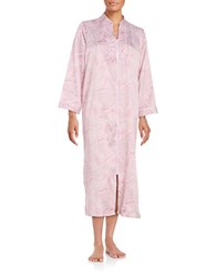 Miss Elaine Satin Paisley Print Zip Up Duster Robe Pink