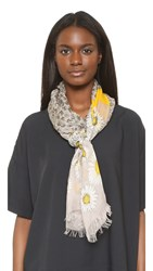 Marc Jacobs Daisies Oblong Scarf Grey Multi
