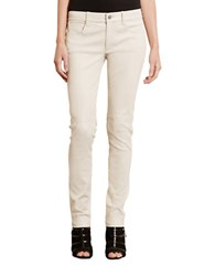 Lauren Ralph Lauren Skinny Leather Pants Cream