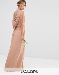Tfnc Wedding Drape Back Maxi Dress Taupe Beige