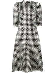 Dolce And Gabbana Houndstooth Polka Dot Dress Black