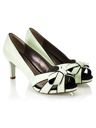Jacques Vert Piped Bow Platform Shoe Green