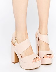 New Look Wide Fit Heeled Sandals With Platform Pink