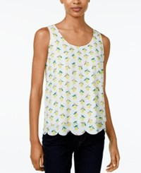 Maison Jules Scalloped Printed Top Only At Macy's Washed White Combo